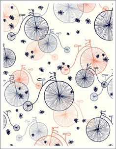 CAFE DU MONDE 8.5 x 11 fine art cotton rag print vintage bikes  Would be super cute as a little girl skirt!