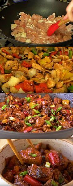 Frango Xadrez MAIS GOSTOS QUE JA COMI #frangoxandrez Asian Recipes, Beef Recipes, Cooking Recipes, Ethnic Recipes, I Love Food, Good Food, Yummy Food, Brazilian Dishes, Food L