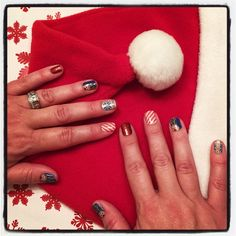 Fun holiday manicure! No trip to the salon required. Order by Dec 10th for delivery by Dec 24th. #ReindeerGamesJN #SweaterWeatherJN #CandyCaneJN #RedSparkleJN #Jamberry