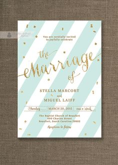 Seafoam Green & Gold Wedding Invitation Stripes with Gold Glitter Confetti Sprinkle Modern Printable Digital or Printed- Stella Style