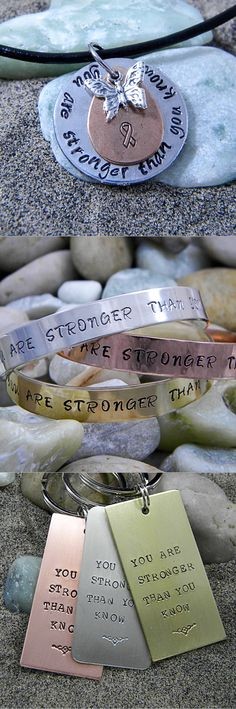 You are stronger than you know cancer survivor hidden message jewelry.  A visible message of strength with an invisible message of defiance.