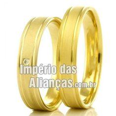 Alianças para casamento Largura 4.0mm Pedras 1 diamantes de 1 ponto Acabamento Fosco e friso liso Formato Anatômico Peso 6,00 gramas O PAR