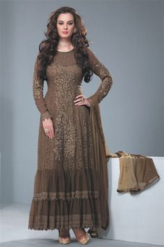 Super Stylish Evelyn Sharma Chocolate Net Party Wear Anarkali Suit