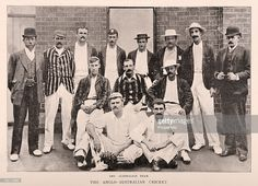 1895 _ The Australian cricket team published in 'Black & White' on 27th April 1895 following their loss to the England team over five Test matches from December 1894 until March 1895.   Left to right back row: unidentified official, Joe Darling, Jack Lyons, William Bruce, Harry Graham, Harry Trott, Frank Iredale, unidentified official; middle row, seated: Albert Trott, Geo...