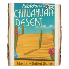 #Chihuahuan Desert USA mexico travel poster Wood Panel - #travel #trip #journey #tour #voyage #vacationtrip #vaction #traveling #travelling #gifts #giftideas #idea