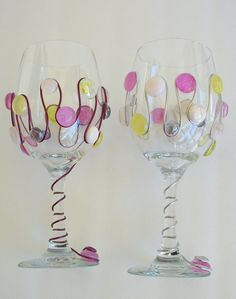 Spring colored wine glasses by AcrossAmericaGlass on Etsy, $29.99