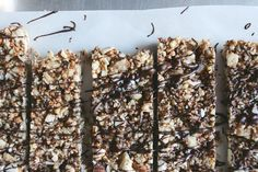 Vegan Salted Dark Chocolate Nut Bars (also, look up how to puff quinoa.... would be great in granola!)