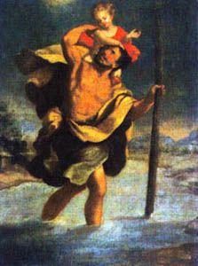 Goya (1746-1828). Óleos sobre lienzo. Ambos fechados en 1775 y pertenecientes a colecciones particulares.   La pintura de la derecha es de las pocas que representa a San Cristóbal con el rostro dirigido hacia su lado derecho.