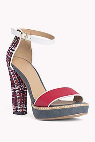 d3ba6e05b Leather and textile mix platform sandal with adjustable ankle strap. Tommy  Hilfiger Women