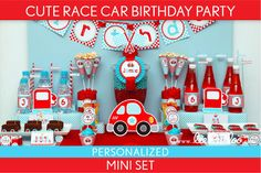 Race Car Birthday Party Package Collection Set Mini by LeeLaaLoo