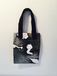 Small black and white tote bag