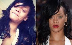 Rihanna ama combinar o make com looks sensuais. Enquanto nos red carpets, a diva aposta no batom vermelho, no Instagram ela gosta de adotar o make ao natural.   Celebridades com e sem make - Beleza - CAPRICHO