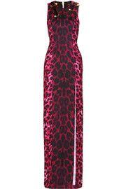 VersusEmbellished animal-print matte-satin maxi dress