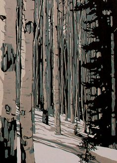 This set of 15 x 30 inch panels pictures a winter birch forest. They were hand burnished in my home studio. This means that no printing press was Woodblock Print, Landscape Paintings, Fine Art, Woodblocks, Linocut Prints, Tree Art, Abstract Artwork, Abstract, Prints