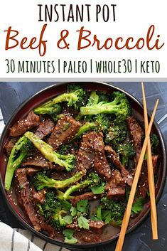 Instant Pot Beef And Broccoli Is A Simple 30 Minute Meal That's Family Friendly And On The Table In Just A Few Minutes It's A Delicious Paleo Beef Recipe For A Busy Weeknight Or Great For Meal Prep Via Paleobailey Paleo Menu, Paleo Recipes, Paleo Food, Keto Foods, Keto Meal, Drink Recipes, Crockpot Recipes, Easy Recipes, Whole30