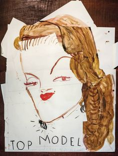 Rose Wylie, Top Model (CC) with Earrings and Mole in from Wilson Stephens & Jones