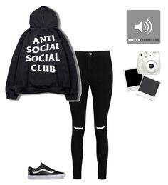 """Black on black"" by xx5sosindependencexx ❤ liked on Polyvore featuring Boohoo, Vans, Polaroid and Fujifilm"