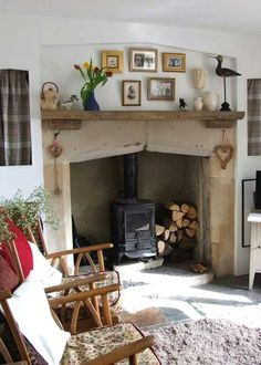 way to utilize the space around the fireplace