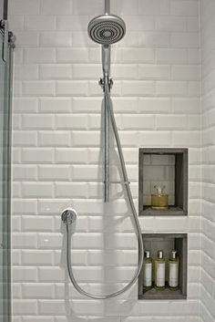 Bathroom Tile Ideas - Creative shower area with white metro wall tiles and recessed storage. The basalt edging finishes the recesses and creates visual detail. I Family Bathroom Design Loft Bathroom, Family Bathroom, Bathroom Renos, Bathroom Renovations, Small Bathroom, Master Bathroom, Modern Bathroom, Bathroom Ideas, Small Bathtub