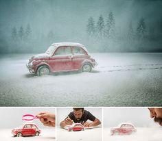Produção fotográfica usando brinquedos, por Felix Hernandez Rodriguez. Fotografia com miniaturas. Making of de produção de fotos com lente macro...