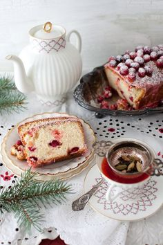I love Cranberry Bread and it looks so pretty. (At least I think this is cranberry bread) - - - Christmas Tea