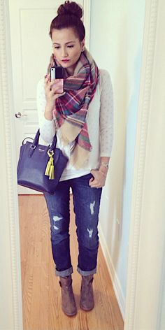 Plaid Blanket Scarf & DIstressed Jeans