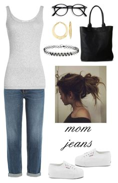 """mom jeans"" by annalynn2424 ❤ liked on Polyvore featuring M.i.h Jeans, Vince, Ross-Simons, Daphny Raes, Miss Selfridge and Superga"