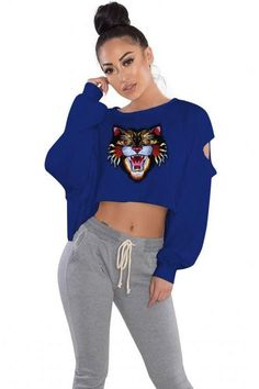04bdfb2fea Embroidery Tiger Loose Hoodies Women Sweatshirt Hole Cropped Long Sleeve  Short Pullover Royal Blue