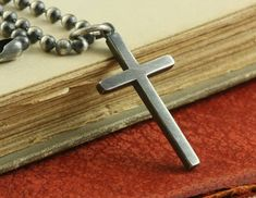 Silver Cross Necklace Mens Womens Rustic Sterling Silver