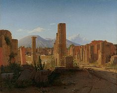 The Forum at Pompeii with Vesuvius in the Background (Getty Museum)