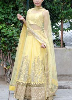 Off-Yellow & Beige Lehenga Choli Women's Ethnic Fashion, Colorful Fashion, Indian Fashion, Net Lehenga, Lehenga Choli, Anarkali, Sarees, Ethnic Outfits, Indian Outfits