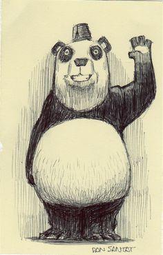 . Panda Illustration, Animal Illustrations, Animal Drawings, Art Drawings, Panda Art, Cool Art, Awesome Art, Character Art, Cute Animals