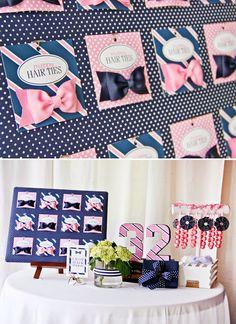 Pink & Navy Preppy Tie Shop Party