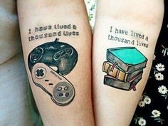 Couple Tattoo for a gamer and a book worm ♡