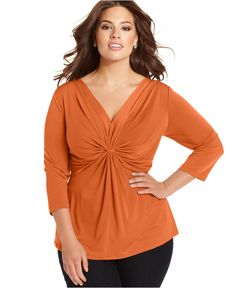 NY Collection Plus Size Three-Quarter-Sleeve Twist-Front Top - Tops - Plus Sizes - Macy's