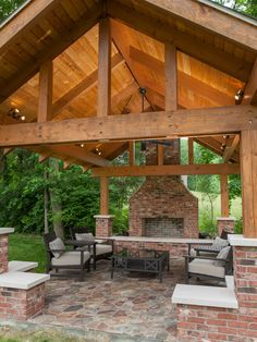 Open beams on the patio