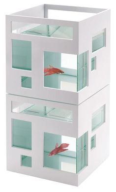Umbra Fish Hotel Stackable Aquarium-- this might be doable in a house in 4 cats-- fish in the bottom, terrarium on top?