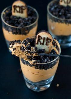 Pumpkin Dirt Pudding Graveyard Parfaits - halloween dessert