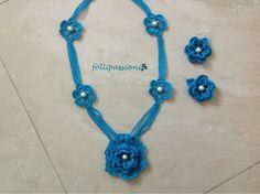 Folli Passioni: Collana e orecchini azzurri con perle