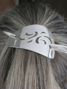 Stick Barrette  From Upcycled Silverplate Cake Server  $25  www.laughingfrogstudio.etsy.com