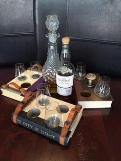 Handcrafted beer and whiskey flights made from hardback books