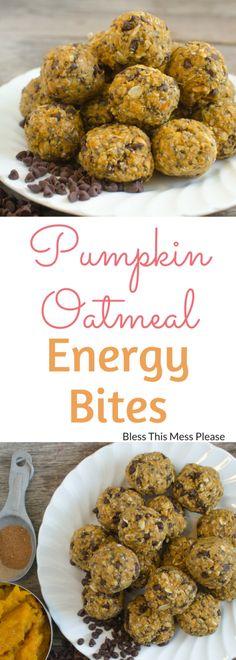 Healthy Snacks For Kids Healthy Pumpkin Oatmeal Energy Bites ~ Quick healthy pumpkin oatmeal energy bites that taste like cookies but are good for you! - Quick, healthy pumpkin oatmeal energy bites that taste like cookies but are good for you! Healthy Sweets, Healthy Baking, Healthy Snacks, Healthy Recipes, Healthy Pumpkin Desserts, Drink Recipes, Juice Recipes, Pumpkin Recipes Easy Quick, Healthy Pumpkin Cookies
