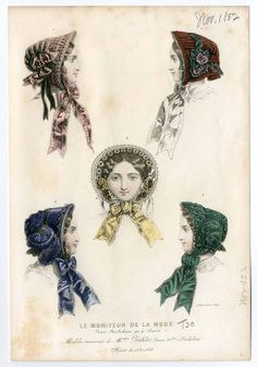 Women Costume / Headgear 1850-1859, Plate 014. Fashion plates, 1790-1929. The Costume Institute Fashion Plates The Metropolitan Museum of Art, New York. Gift of Woodman Thompson (b17509853) | This plate is dated November, 1852. #fashion