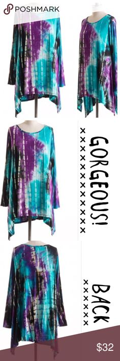 PRETTY BAMBOO TIE DYE TUNIC. Long sleeve, bamboo tie dye tunic in shades of teal and purple. Pretty! Scoop neck, very comfy 95% rayon/5% spandex. Measurements upon request. tla2 Tops Tunics