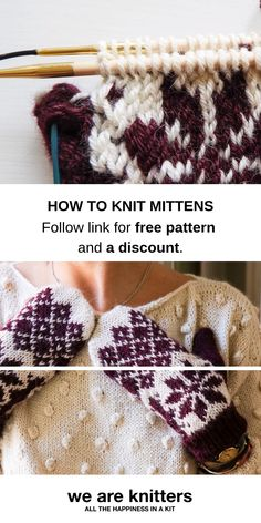 Free pattern for winter mittens - Knitting Projects Knitted Mittens Pattern, Fair Isle Knitting Patterns, Knitting Kits, Knit Mittens, Knitted Blankets, Free Knitting, Kitten Mittens, Knitted Gloves, Crochet Patterns