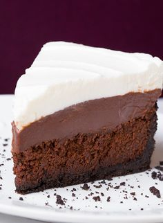 The crisp Oreo crust, the incredibly fudgy, flourless cake, layered with a thick and creamy, decadent chocolate pudding and then it's finished with a fluffy, sweet whipped cream. Yes, this pie is chocolate Heaven!