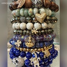 #stacksaturday featuring the #beautiful tones and #charms of @Sydney Evan . #stretchbeadbracelets #beadbracelets #diamondcharms #instalove #jewelryforsale   #heartjewelry #luckycharm #beadjewelry #Stackemup #denverjewelers #osterjewelers