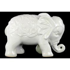 Ceramic Gloss Finish White Standing Elephant Figurine with Embossed Swirl Design