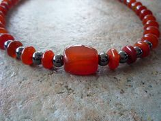 Carnelian and Hemalyke Necklace by BellaDonnaBead on Etsy,