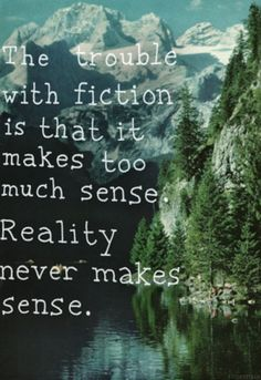 The trouble with fiction is that it makes too much sense. Reality never... | Aldous Huxley Picture Quotes | Quoteswave
